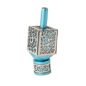 Decorative Dreidel on Base Turquoise Anodized Aluminum with Silver Metal Cutout Pomegranate Design Size Small by Yair Emanuel