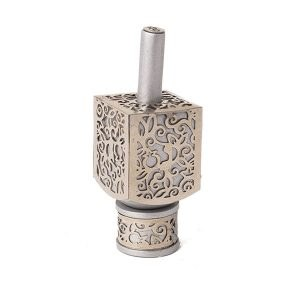 Decorative Dreidel on Base Anodized Aluminum with Metal Cutout Pomegranate Design Size Small Silver Color by Yair Emanuel