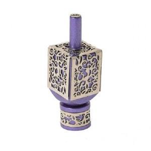 Decorative Dreidel on Base Purple Anodized Aluminum with Silver Metal Cutout Pomegranate Design Size Small by Yair Emanuel