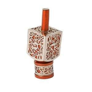 Decorative Dreidel on Base Orange Anodized Aluminum with Silver Metal Cutout Pomegranate Design Size Small by Yair Emanuel