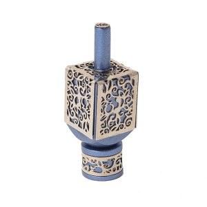 Decorative Dreidel on Base Blue Anodized Aluminum with Silver Colored Metal Cutout Floral Design Size Large by Yair Emanuel