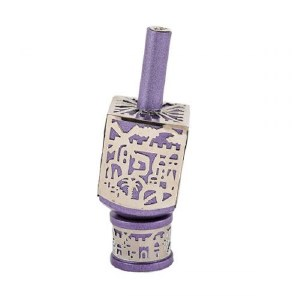 Decorative Dreidel on Base Purple Anodized Aluminum with Silver Colored Metal Cutout Jerusalem Design Size Medium by Yair Emanuel