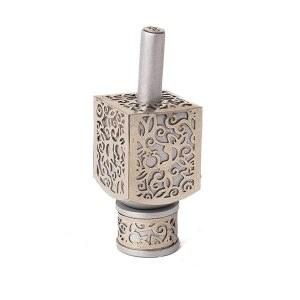 Decorative Dreidel on Base Silver Colored Anodized Aluminum with Metal Cutout Floral Design Size Medium by Yair Emanuel