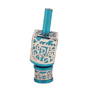 Decorative Dreidel on Base Turquoise Anodized Aluminum with Silver Colored Metal Cutout Jerusalem Design Size Medium by Yair Emanuel
