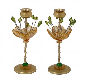 "Candlesticks Bronze Metal Polymer Beads Yellow and Green Flower Design 10"" Designed by Yair Emanuel"