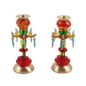 Yair Emanuel Candlesticks Beaded Fountain Flower Design Medium Size