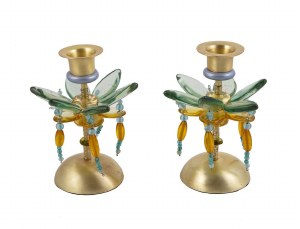Candlesticks Bronze Metal Polymer Beads Yellow and Green Small Flower Designed by Yair Emanuel