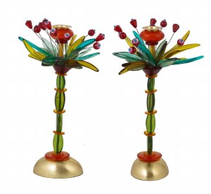 "Candlesticks Poly Multicolor Fountain Design 14"" Designed by Yair Emanuel"