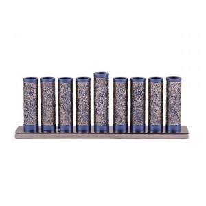Candle Menorah Blue Aluminum Cylinders with Exquisite Metal Cutouts by Yair Emanuel