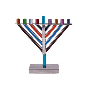 """Yair Emanuel Candle Menorah Chabad Style Multi Color 7.5"""""""