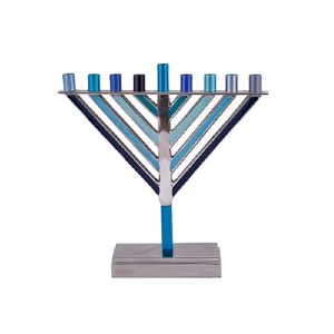 "Yair Emanuel Candle Menorah Chabad Style Multi Tone Blue 7.5"""