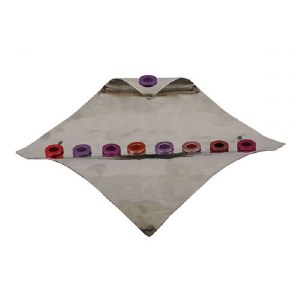 Candle Menorah Hammered Waved Diamond Shape Maroon by Yair Emanuel