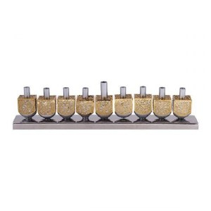 Candle Menorah Silver Colored Aluminum Dreidels with Brass Metal Cutouts by Yair Emanuel