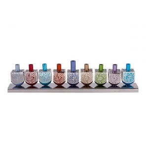 Candle Menorah Multi Colored Aluminum Dreidels with Metal Cutouts by Yair Emanuel