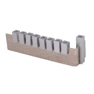 Yair Emanuel Hammered Menorah L Shaped with Anodized Silver Colored Stems