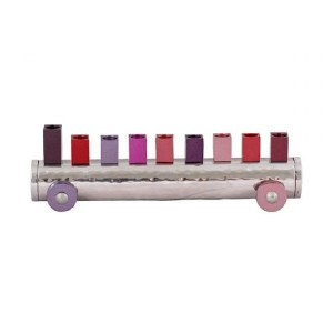 Candle Menorah Hammered and Anodized Train Shape Maroon by Yair Emanuel