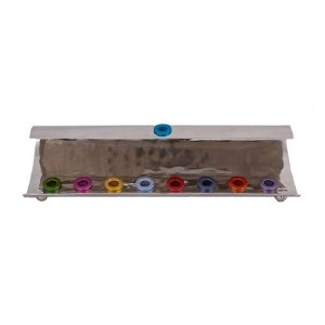 Candle Menorah Hammered Wave Shape Multi Color by Yair Emanuel