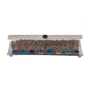 Candle Menorah Hammered Wave Shape Blue by Yair Emanuel