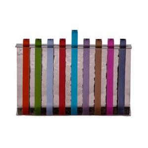 Candle Menorah Hammered Backdrop with Anodized Straight Lined Colorful Branches by Yair Emanuel