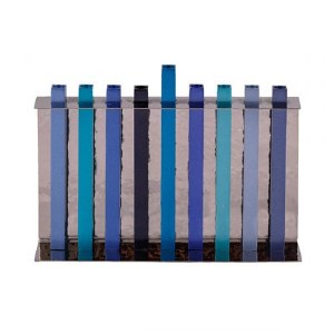 Candle Menorah Hammered Backdrop with Anodized Straight Lined Blue Branches by Yair Emanuel