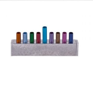 Candle Menorah Multi Colored Anodized and Hammered Strip Style by Yair Emanuel