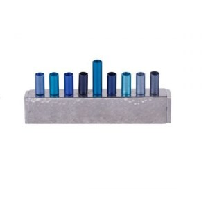 Candle Menorah Blue Anodized and Hammered Strip Style by Yair Emanuel