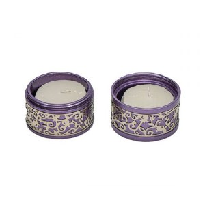 Yair Emanuel Folding Travel Candlesticks Aluminum Purple with Metal Cutout