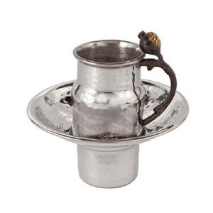 Yair Emanuel Stainless Steel Mayim Achronim Cup and Bowl Set Accentuated with Pomegranate Branch Handle