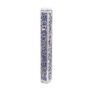 Yair Emanuel Mezuzah Case Anodized with Metal Cutout Pomegranate Design Blue 15cm