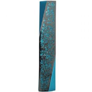 Yair Emanuel Mezuzah Case Turquoise Aluminum Geometric Design with Silver Color Pomegranate Cutout 12cm