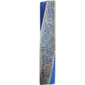 Yair Emanuel Mezuzah Case Blue Aluminum Geometric Design with Silver Color Pomegranate Cutout 12cm