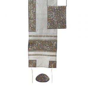 Yair Emanuel Machine Embroidered Tallit Set Flowers Strip Grey Design