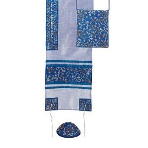 Yair Emanuel Machine Embroidered Tallit Set Flowers Strip Light Blue Design