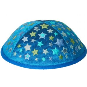Yair Emanuel Embroidered Kids Kippah Blue with Stars
