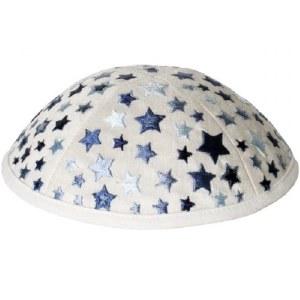 Yair Emanuel Embroidered Kids Kippah White with Blue Stars
