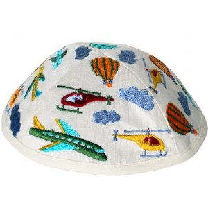 Yair Emanuel Embroidered Kids Kippah White with Multi Colored Air Transport