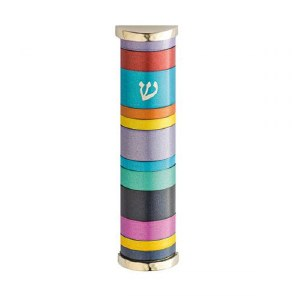 Yair Emanuel Aluminum Mezuzah Case with Multi Color Rings 10cm