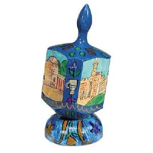 Yair Emanuel Large Painted Dreidel With Stand - Jerusalem in Blue