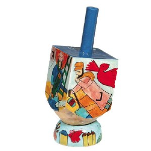 Yair Emanuel Small Painted Dreidel With Stand - Figures Design