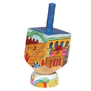Yair Emanuel Small Painted Dreidel With Stand - Jerusalem Design