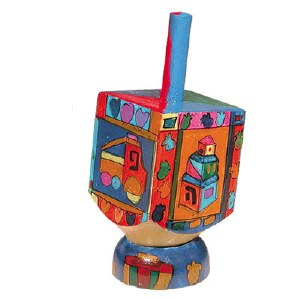 Yair Emanuel Small Painted Dreidel With Stand - Toys Design