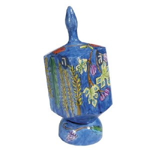 Emanuel Extra Large Dreidel with Stand Seven Species Painted Design