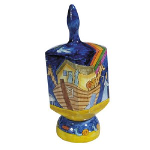 Yair Emanuel Dreidel with Stand Painted Noah's Ark Extra Large