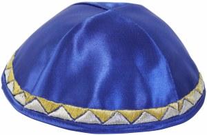 Yarmulka Triangle Design Royal Blue Satin