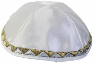 Yarmulka Triangle Design White Satin
