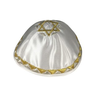 Yarmulka White Satin Gold and Silver Triangle Border and Magen David
