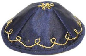 Bris Yarmulka for Babies with Strings Navy and Gold