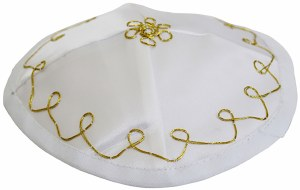 Satin Bris Kippah with Strings White and Gold