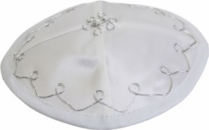 Bris Yarmulka with Strings White Satin Designed with Silver