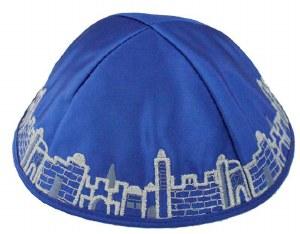 Yarmulka Jerusalem Royal Blue Satin